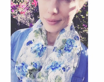 Roses Are Blue & Perfect For Every Occasion With This Lace Scarf/Hoody - Handmade And Ready to Ship
