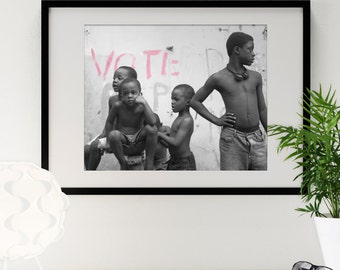 "Jamaican Boys Graffiti 16"" x 20"" Photography Framed - Black & White with Selective Color"