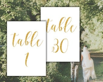 Gold table numbers printable Wedding table numbers Gold wedding decor Reception table numbers Wedding reception Wedding signs Gold printable