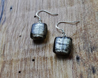 Grey Square Murano Glass Earrings
