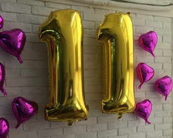 """Giant 34"""" Gold Balloon Numbers/ Gold Number Balloons/ XL Number Balloons/ Gold Balloons/ Birthday Party"""