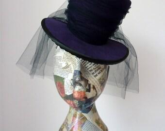 Lolita Hat- Gothic Hat- Gothic Wedding- Steampunk Hat- Top Hat in Purple fabric with veil.