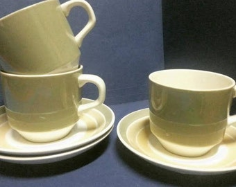 Vintage Crown Lynn Cups and Saucers Carousel Made in New Zealand (3)