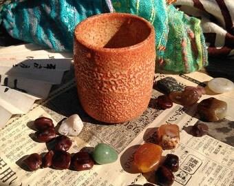 Orange Shino ware Japanese yunomi tea cup / Handmade Pottery / Shino glaze / Made in Japan / Ceramic Gift / Tsu#18