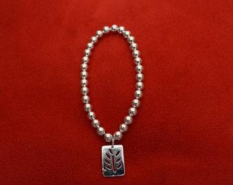Silver plated rectangle tree bracelet