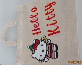 "Customized Canvas Tote Bag ""HELLO KITTY"" ....AWESOME!!"