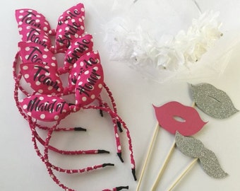 Bachelorette Headbands, Bunny ears, Bride Tiara, Bridesmaid Hair Accessories, Bunny ears, Bridesmaid, Team Bride, Bachelorette Party, LOVE M