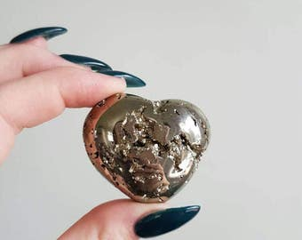 RESERVED ~ Heart Of Gold   Pyrite Heart Carving   AAA Quality   Coco   Peru