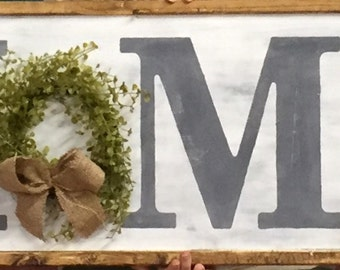 Rustic 3 Ft Farmhouse Inspired Home Sign with wreath