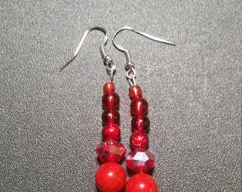 Beautiful Red Beaded Dangle Earrings in Silver