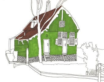 Green House at the Zaanse Schans, The Netherlands - Fine Liner Coloured Illustration Print