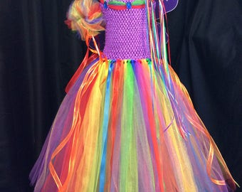 Rainbow fairy tutu dress w/matching crown, wand, wings; birthday outfit; fairy costume for girls; 18-24 mo, 3T/4T, 5/6, 7/8, 9/10, 11/12