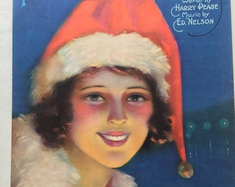 "Vintage 1920's Christmas Sheet Music 'Pretty Kitty Kelly"" Ready to Frame Wall Art, Vintage Illustration"