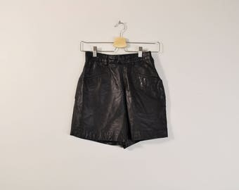 Black Leather Shorts, Leather Hot Pants, Vintage Leather Shorts, High Waist Shorts, 90s Black Shorts, Womens Shorts Size 4