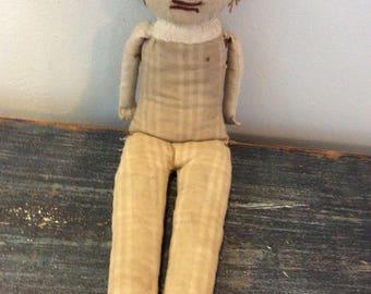 Primitive Vintage Homemade rag doll
