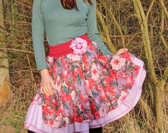 Unique flower skirt with birds and berries pattern in red and lilac
