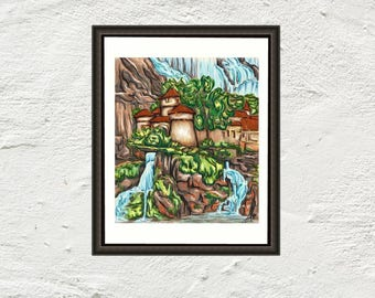 Print Reproduction Castle art, waterfall