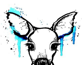 Rehkiz, Art-Print, Druck, Kunstdruck, Illustration, decor, art, print, animal, cute, watercolour, bambi, stilwald, wall art poster, home