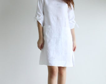 short linen dress, loose linen dress, linen clothing, women clothing, summer clothing, short dress, linen dress, pure linen dress - E20D