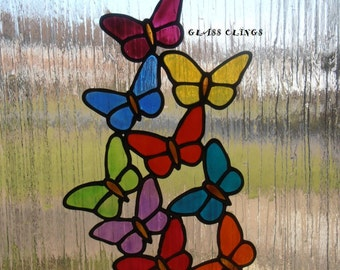 Flutter of butterflies window cling, stained glass effect, mirror, tile sticker, decal