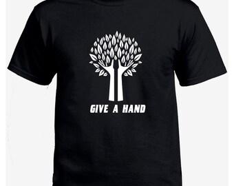 Give a hand geek black t-shirt