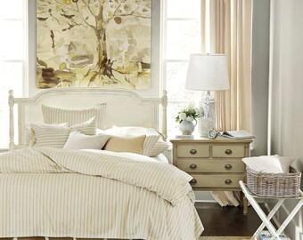 """Trim fringe burlap bed skirt, Queen size, 60""""x80"""", rustic bedroom look, natural burlap bedskirt, Choose the drop"""