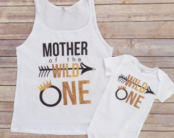 Mommy and Me Matching Wild and One Shirt Set, 2 Shirt Set, Mother and Son Matching Shirts, Mother Daughter Matching Shirts, Wild, First Bday