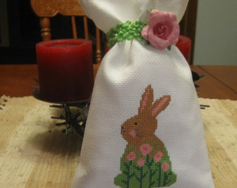Completed Finished cross stitch gift bag