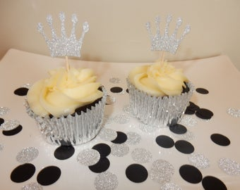 12 x Silver Glitter Crown Cupcake Toppers - Double sided. Birthday, Christening, Baby Shower Decorations, Handcrafted