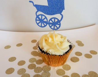 12 x Blue Pram Glitter Cupcake Toppers - Double sided  Baby Shower Decorations, Handcrafted
