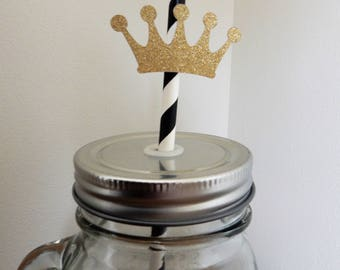 Little Prince Party Straws. Black, White and Gold Glitter Paper Straws. Christening, Birthday, Baby Shower, Party Decorations, Handcraftedc