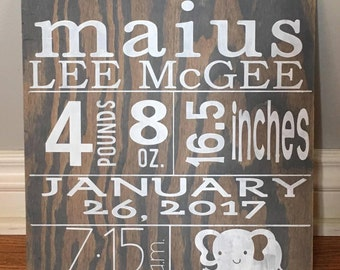 Custom Birth Announcement Wood Sign | Personalized Birth Stats Sign | Baby Gift | Baby Birth Sign