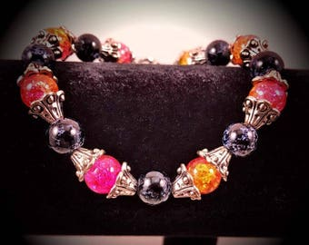 8'' Pink/Orange Two Tone and Black Beaded Bracelet