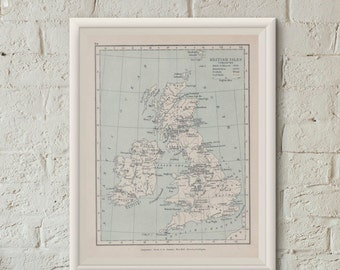 Map Of British Isles  Industries England Digital  Online Maps Instant Download Printable