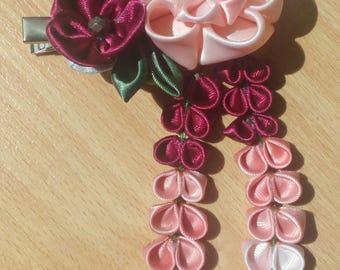 Barrette tsumami kanzashi shades pink and Burgundy