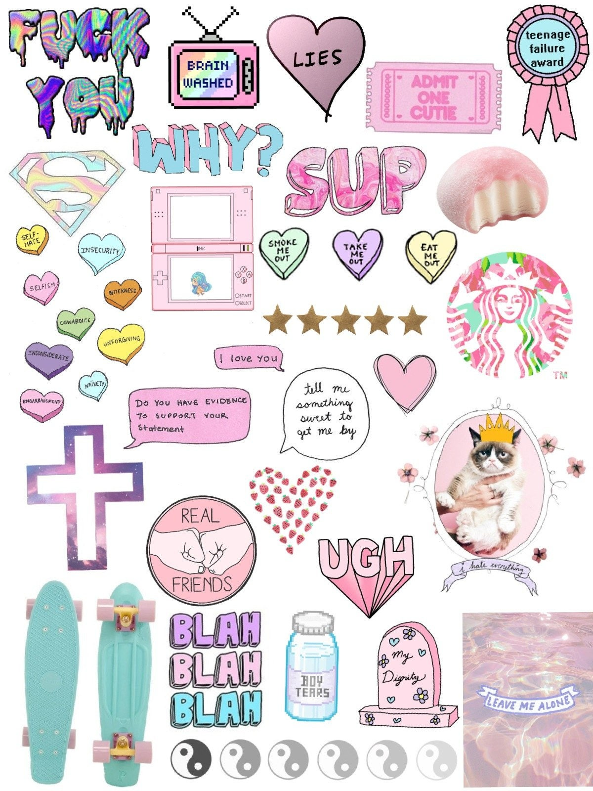 Tumblr sticker set includes 3 sticker sheets | Planner ...