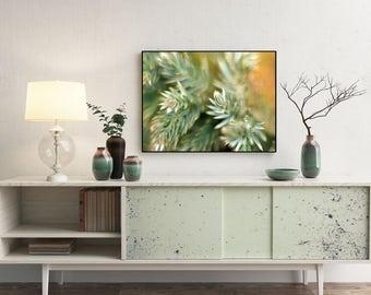 Macro photography - Amber green art - Orange wall art - Botanical print - Nature lover gift - Digital prints - Downloadable art - A3 art art