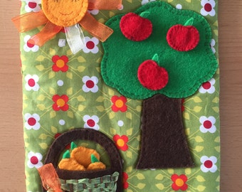 Fruit tree colours and counting quiet book activity page