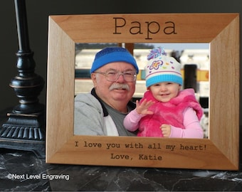 Photo Frame, Photo Gifts, Papa Picture Frames, Papa Gifts, Gifts for Papa, Grandfather Gift, Engraved Wood Papa Frames, Papa Photo Frame