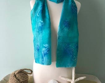 Silk scarf turquoise and blue with Tahitian inspires sea horses