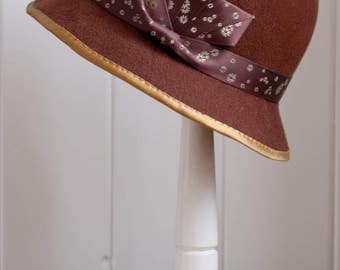 Brown and Gold Wool Felt Cloche - 1920's Style