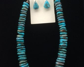 Graduated Turquoise Disc Necklace and Earrings Set