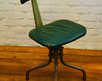 Industrial Leabank swivel office chair leather metal vintage retro antique machinist