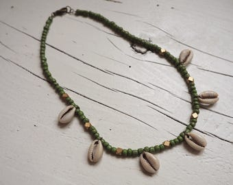 Pearl Necklace with cowrie shells