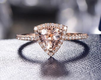 Morganite Engagement Ring Rose Gold Wedding Band Halo Bridal Set Stacking Geometric Anniversary Promise Graduation Gift For Her Triangle