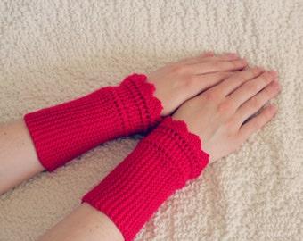 Fingerless Mittens, Womens Raspberry/Red Gloves, Hand Knit Gloves, Wrist Warmers