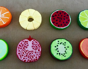 Set of 8 Fruit slice Pattern weights,  Large Polymer Clay Sewing Weights, Ideal gift for Seamstresses, perfect for Birthdays and Christmas