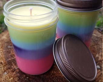 Soy Candle: Lemon Scented Rainbow