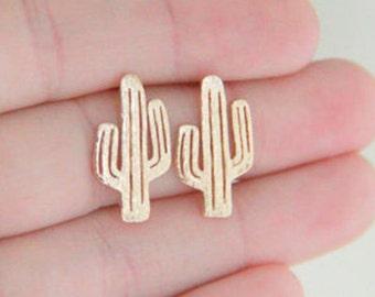 Cactus stud earrings, Cactus earrings, gold Cactus earrings, summer earrings, minimalist earrings, silver Cactus earrings