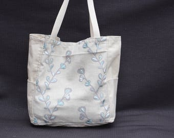 Blue branch tote bag